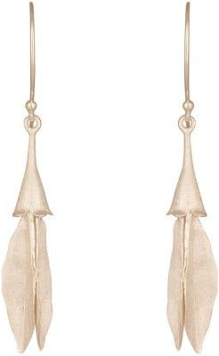 Mirror White Floral Long Drops Silver Drop Earring