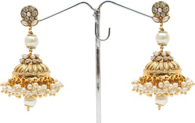 Donatella Ghumki Cubic Zirconia, Pearl Brass Jhumki Earring