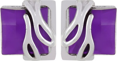 Gracent Rectangular Shaped Designer Purple Metal Stud Earring