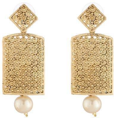 Art Nouveau Beautiful Design AD Stone Studded Traditional Partywear Brass Hoop Earring