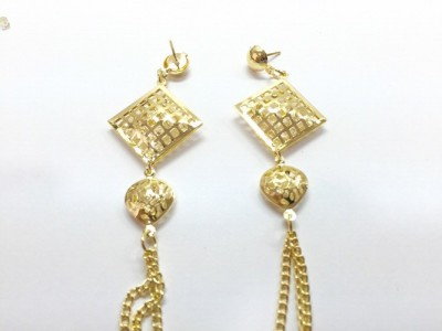 Arkina Diamonds Golden square with crystals Brass Dangle Earring