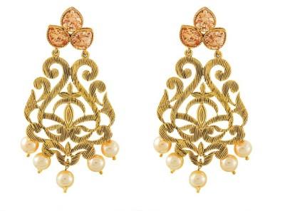 Art Nouveau Fancy New Design Stone Antique Brass Chandelier Earring