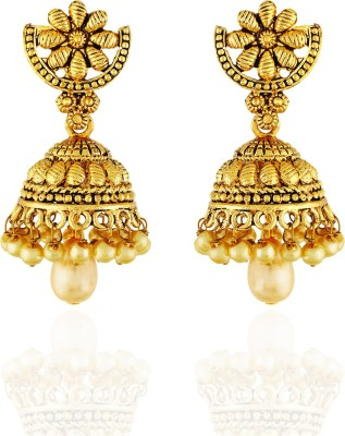 One Stop Fashion Classy Designer Gold Plated with a Pearl drop Alloy Jhumka Alloy Jhumki Earring