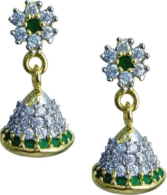 YUVEN Clear Shining Pretty Zircon Brass, Alloy Jhumki Earring