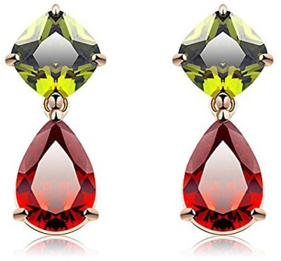 Yellow Chimes Floral Queen Cubic Zirconia Alloy Drop Earring