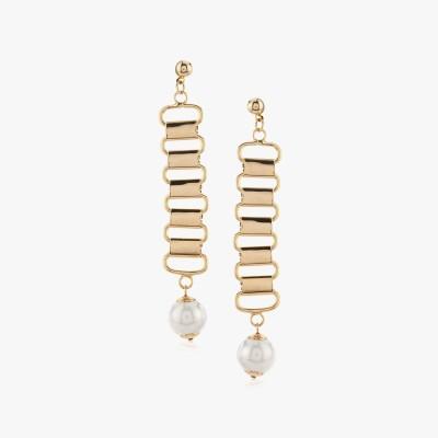 Shamoda Fashionable Golden Linked Metal Dangle Earring