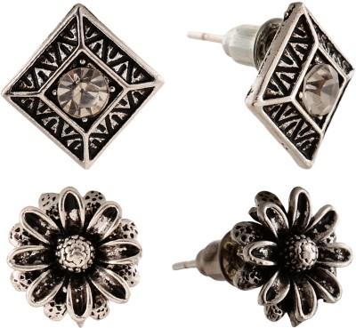 Anokhi Ada Sunflower and Rhombii Metal Stud Earring