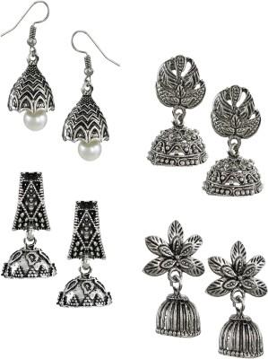 Zaveri Pearls Pack Of Four Finely Detailed & Designer Oxidised Zinc Jhumki Earring at flipkart