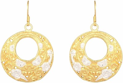 Mirror White Floral Etched Drops Silver Chandbali Earring