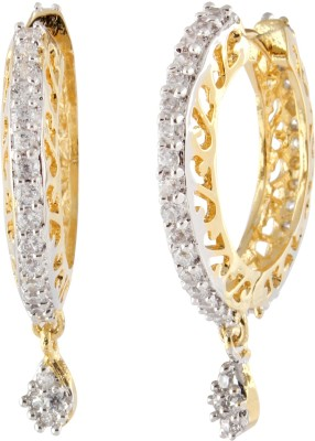 Syonaa Royal Yellow Gold Spring Sparkle Cubic Zirconia Brass Hoop Earring