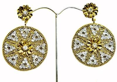 Mrinalini Gold Circle Alloy Drop Earring