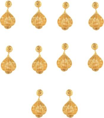 Dubbai Gold Intricate Jali Work Metal Earring Set