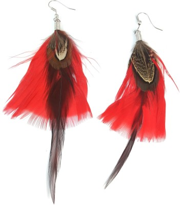 Ammvi Red & Brown Feather for Women Alloy Dangle Earring