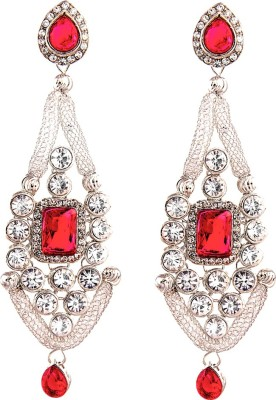 REEVA FASHION JEWELLERY SHIMMERING SILVER WITH PINK STONE Tourmaline Alloy Drop Earring