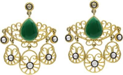 Eighth Fold Green Antique Design Agate Brass Drop Earring
