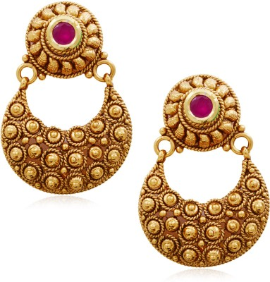 Hyderabad Jewels Beautiful Antique Hangings Pearl Copper Chandbali Earring
