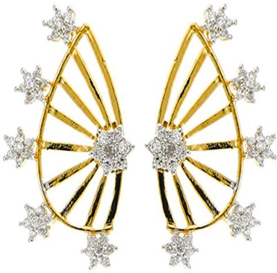 Bandish Gold toned American Diamond Floral Stone studded Cubic Zirconia Alloy Cuff Earring