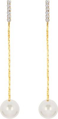 Sansar India Golden Chain Pearl Alloy Drop Earring