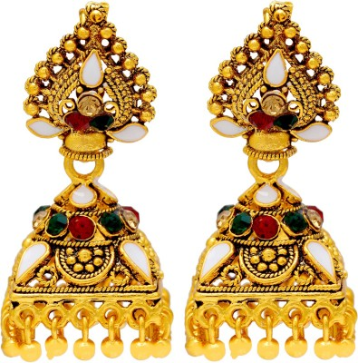 Memoir Gold Plated Square Umbrella Shape Colorful Swiss AD Studded Unique and different Medium Size Brass Jhumki Earring