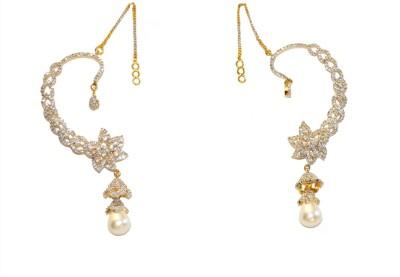 Women Trendz Cz Golden Polish Brass Cuff Earring