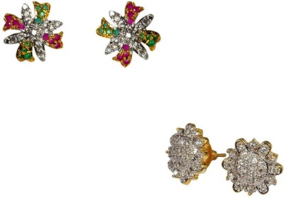 Rashi Jewellery Sparkle 2 Combo Cubic Zirconia Alloy Earring Set
