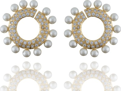 Chaahat Fashion Jewellery Round Shape With Pearl Cubic Zirconia Copper Stud Earring