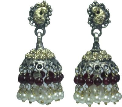 GnJ Double Color Pearl, Onyx Sterling Silver Jhumki Earring