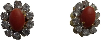 Paridhi Jewels Designer Coral Earrings Cubic Zirconia Alloy Stud Earring
