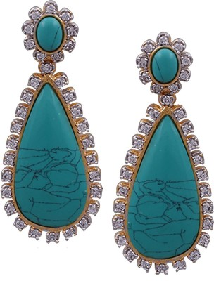 Prisha Drop danglers studded with cz stones & coral for a gils & women's Zircon Copper Dangle Earring
