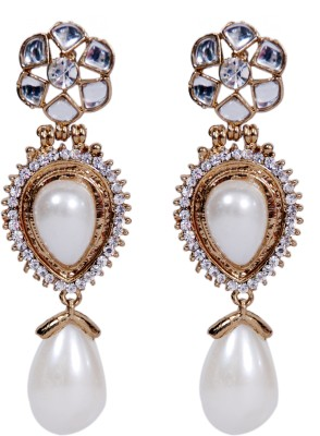 Grand Jewels NSE1003 Cubic Zirconia, Pearl Alloy Dangle Earring