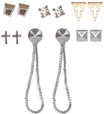 ToniQ Set of 6 Multicolor Christmas Metal Earring Set