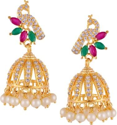 Mahaveer Pearls Peacock Shaped - Coloured Stones & Pearls Pearl, Cubic Zirconia Brass Jhumki Earring