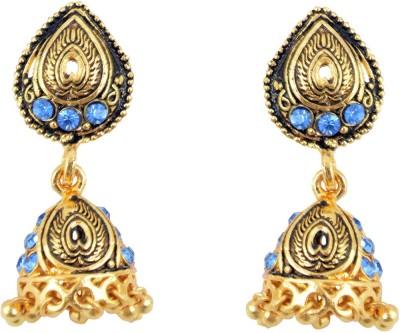 Diovanni Heart Engraved Golden Metal Jhumki Earring