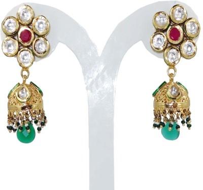 Anjan Gorgeous Designer Golden Diamonds Studded Alloy Jhumki Earring