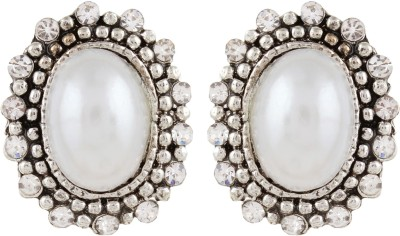 Gracent Silver Oval Shaped Antique Pearl Metal Stud Earring