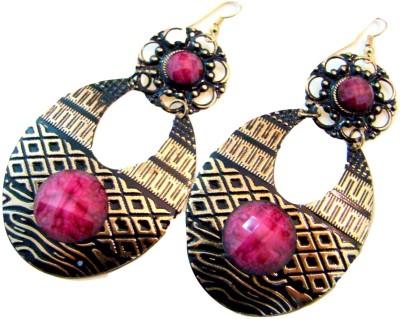 Store Utsav Bold Pink Alloy Dangle Earring