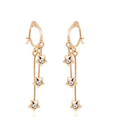 Wearyourfashion Hanging Stars Austrian Crystal Alloy Tassel Earring