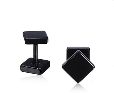 GemRoute 8 mm Black Square Stainless Steel Stud Earring