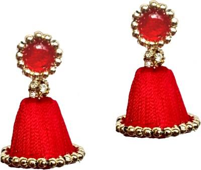 Shrungarika Fashionable Red Silk Dori Jhumki Earring at flipkart