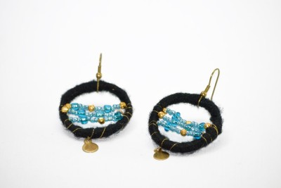 Ba No Batwo Black Rangakriti Earrings Cotton Dori, Plastic Dangle Earring