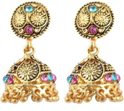 Diovanni Neele Amber Par Pyaar Ki Gulabi Shahi Chandelia Metal Jhumki Earring