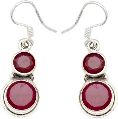 YugshaJewels Elegant YJE-1121 Ruby Sterling Silver Dangle Earring