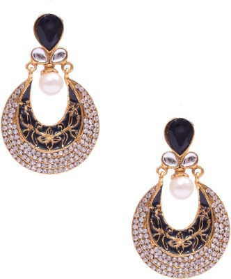 Rubena Gold Plated Dangler With Cz Stone And Black Enamel Work Cubic Zirconia, Pearl Alloy Chandbali Earring
