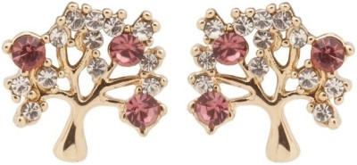 RIANZ New Gold Plated Tree shaped Red Crystal stone Alloy, Crystal Stud Earring