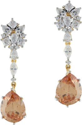 Styleos Clear Peach Delight Cubic Zirconia Alloy Drop Earring