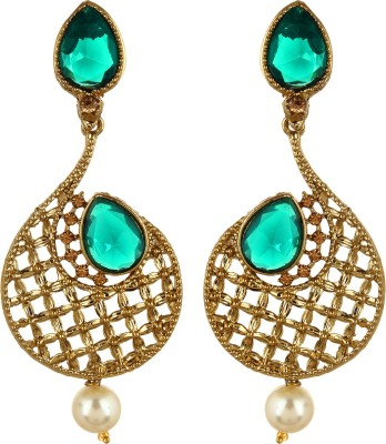 Fabula Gold & Green Zircon American Diamond AD CZ & Pearl Traditional Ethnic Jewellery Jewellery Filigree for Women, Girls & Ladies Metal Dangle Earring