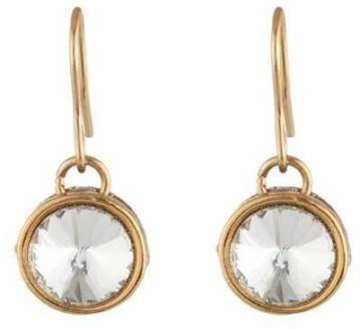 Art Nouveau Beautiful Design AD Stone Studded Traditional Partywear Brass Drop Earring