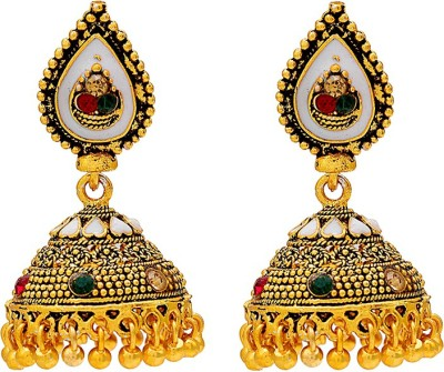 Memoir Gold Plated Traditional Design Dailyuse Cubic Zirconia Brass Jhumki Earring