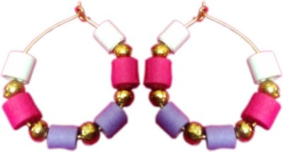 Vaishali's Quilling Jewellery White And Purple Combination Paper Hoop Earring