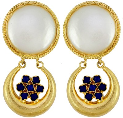 Gehnamart Marvellous White Pearl Alloy Drop Earring